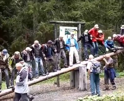 Elderly People Balancing On A Trunk Goes Wrong