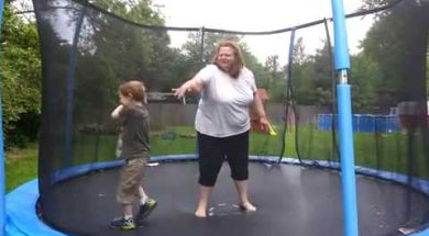 Boy Falls Through Trampoline Net
