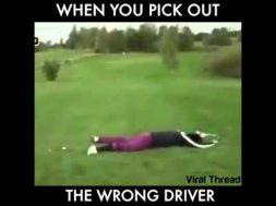Golf Driver Runs Over Golfer