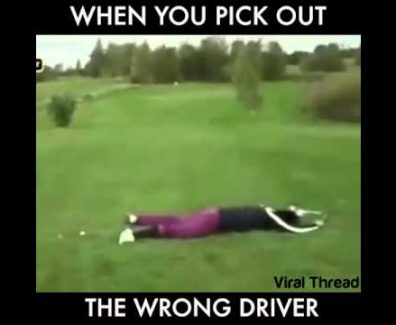 Golf Driver Runs Over Golfer