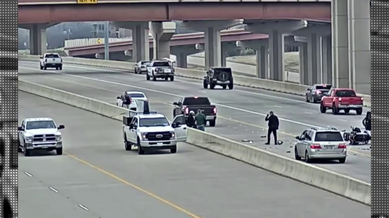 Motorcycle Police Crash With 2 Cops